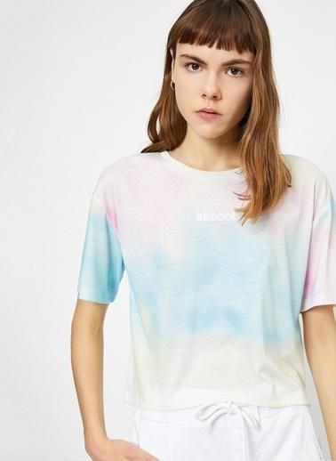 Koton Koton Yazılı Baskılı Mavi T-Shirt Mavi